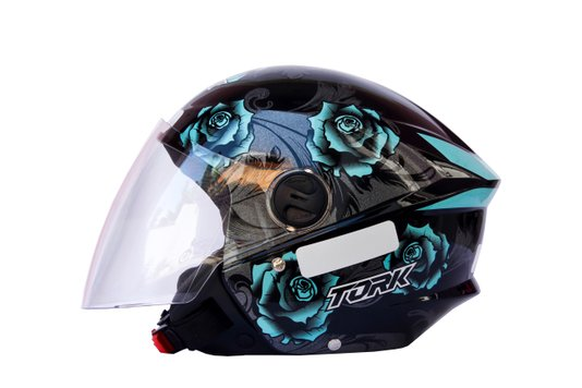 Capacete Aberto New Liberty 3 Floral Azul Pro Tork