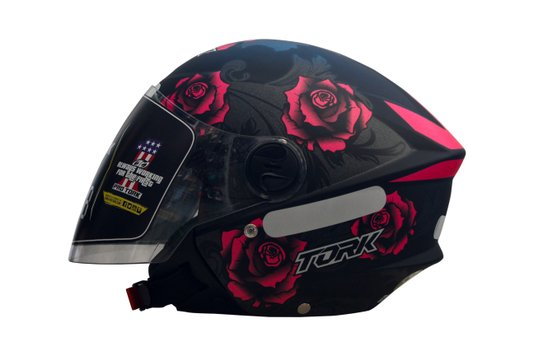 Capacete Aberto New Liberty 3 Floral Rosa Fosco Pro Tork