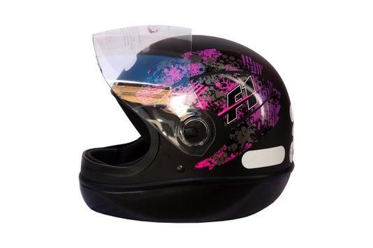 Capacete Formula 1 Brake Preto Fosco Com Rosa Taurus